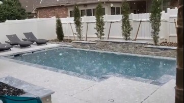 Hail pummels Oklahoma backyard