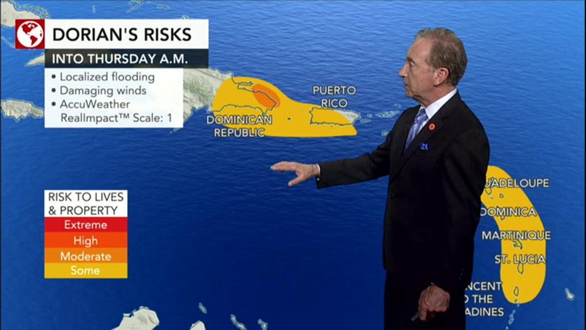 Dorian strengthens as it creeps through Caribbean
