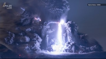 Incredible Shot of Lightning Strike in Center of Erupting Volcano
