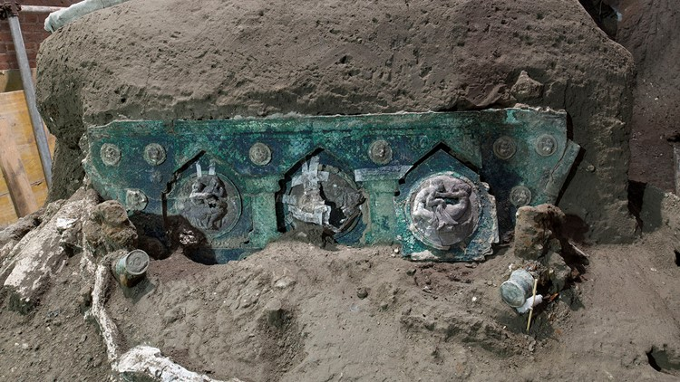 Pompeii chariot found intact 2,000 years after Mount Vesuvius eruption