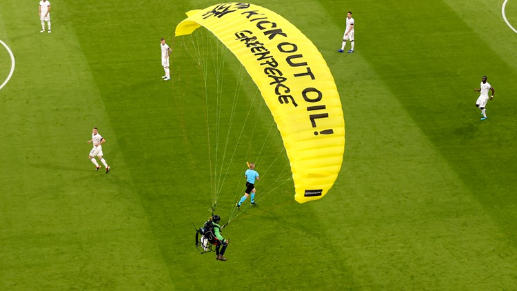 Greenpeace apologizes after protester parachutes into Euro 2020 stadium