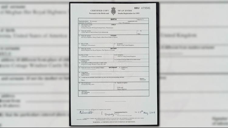 Britain Royal Baby birth certificate