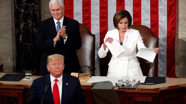 House Speaker Nancy Pelosi rips papers State of the Union (AP)