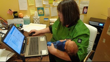 Cafe owner helps employee care for baby at work