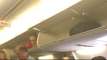 Did a Southwest flight attendant climb into the overhead bin? (Photos)