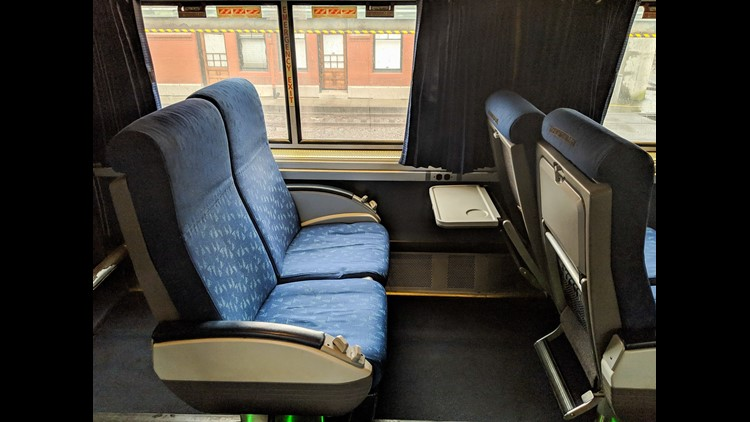 Coach seats on the Empire Builder were worn, but provided plenty of space.