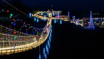 Check out the SkyBridge in Gatlinburg all lit up for Christmas!