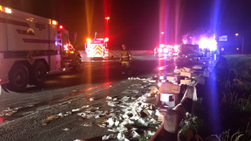 Truck carrying toilet paper catches fire, shuts west Texas interstate
