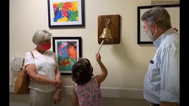 Wish granted!  North Carolina girl rings victory bell marking the end of cancer treatment on her birthday