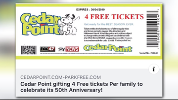 Cedar Point issues warning about free ticket scam