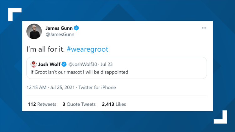 James Gunn, 'Guardians of the Galaxy' director, supports fans' calls to make Groot, Rocket the Raccoon Cleveland's new MLB mascot