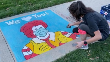 Student leaves chalk drawing, message of love outside Ohio Ronald McDonald House