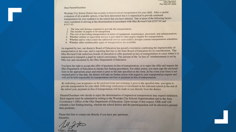 Westlake City Schools notice