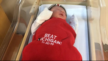 Babies born this week at Ohio State hospital get 'Beat Michigan' blankets