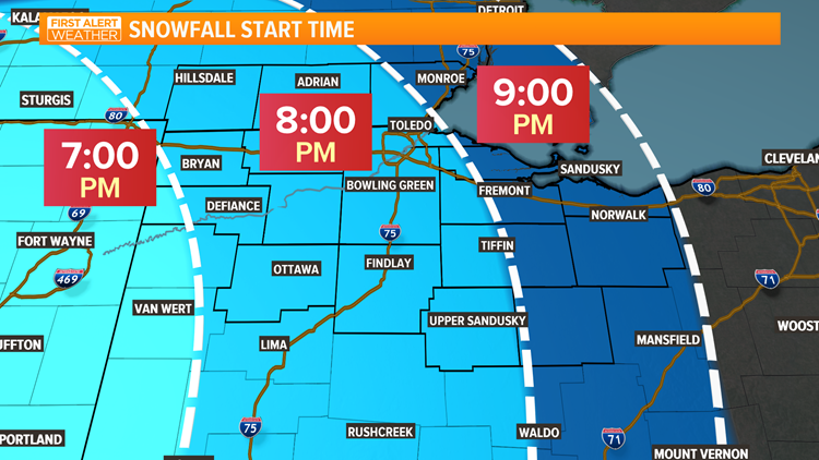 Snowfall start time Feb. 6