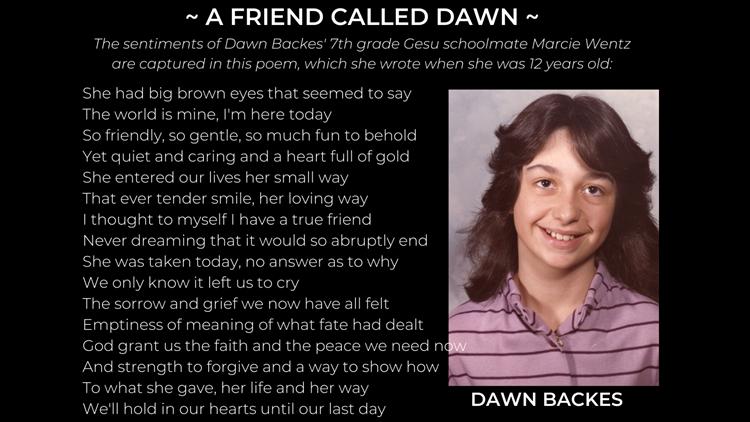 Marcie Wentz poem on Dawn Backes Cook Brothers victim