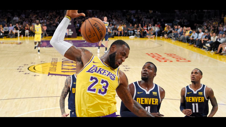 e5082180491 LeBron James throwns down monster slam in home preseason debut in LA ...