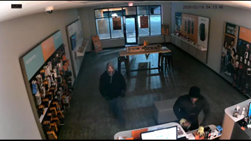 Suspects caught on camera using brick to break into Boost Mobile store