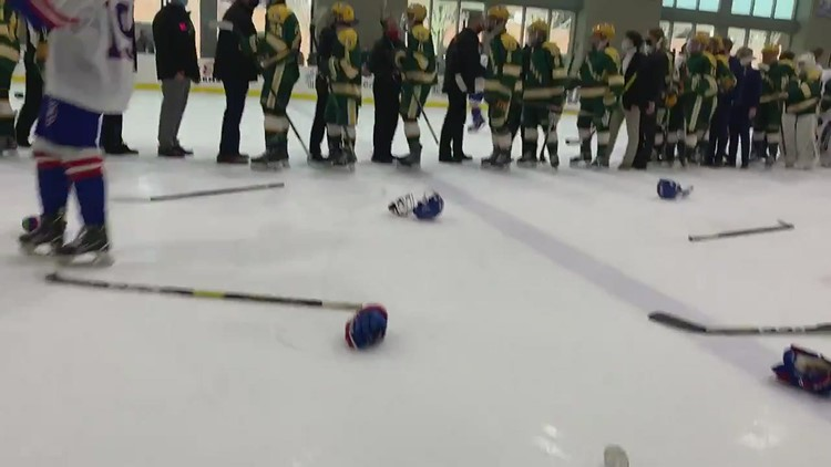 St. Francis Knights celebrate state hockey championship