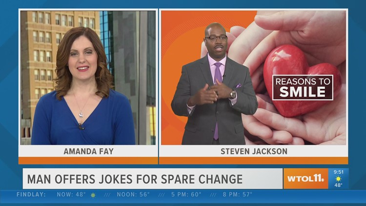 Reason to Smile: Homeless Toledo man tells jokes to brighten people's day