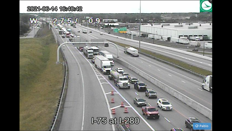 Traffic backed up on I-75 due to crash just north of Alexis Road