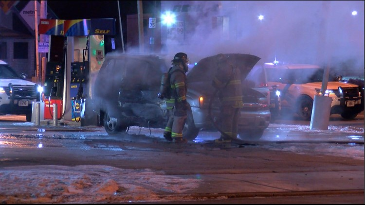 SUV goes up in flames at central Toledo gas station