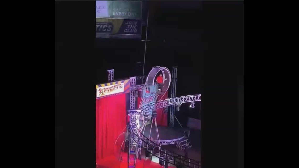 Circus performer falls in the middle of stunt at Huntington Center