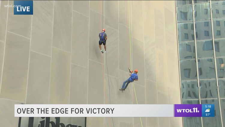 Over the Edge for Victory rappelling fundraiser underway, continues with Friday's main event