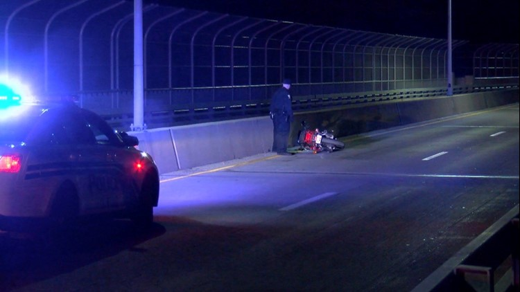 Person hospitalized after motorcycle crash on High Level