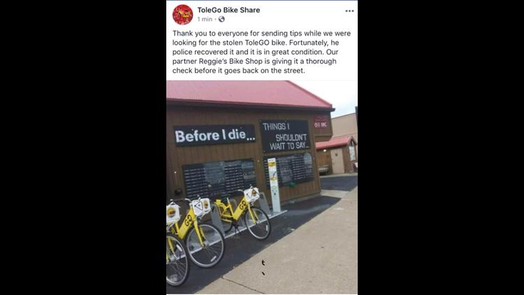 UPDATE: Stolen ToleGo bike found, Police looking person responsible