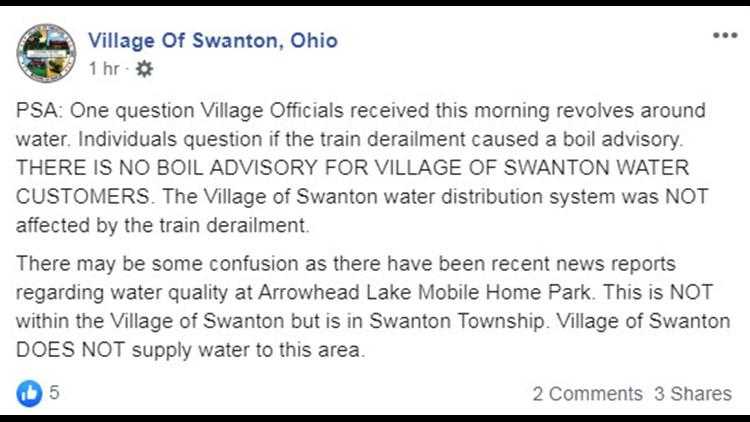 Village of Swanton no boil advisory