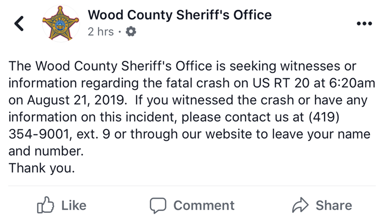 Wood County Sheriff seeks info, witnesses on fatal accident