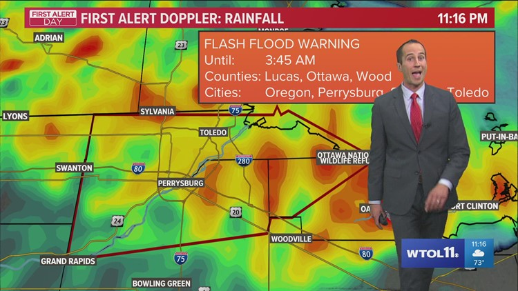 Flash flood warning for Ottawa, Lucas and Wood counties   First Alert Weather update, 9/15, 11:15 pm