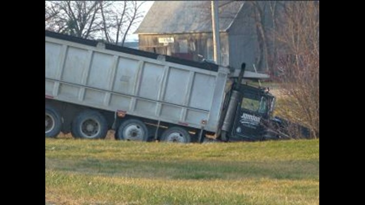 2 injured after dump truck collides with car