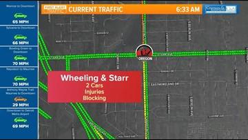 Injury accident blocks traffic on Wheeling and Starr