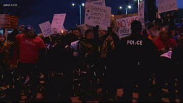 Scene from the downtown Toledo protests against President Trump