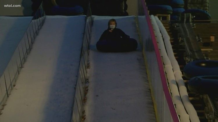 Lights Before Christmas 2020   Annnd she's off! Amy Steigerwald chills out on the ice slide
