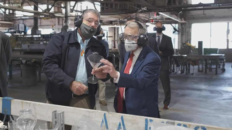 Gov. Mike DeWine visits Libbey Glass to promote manufacturing
