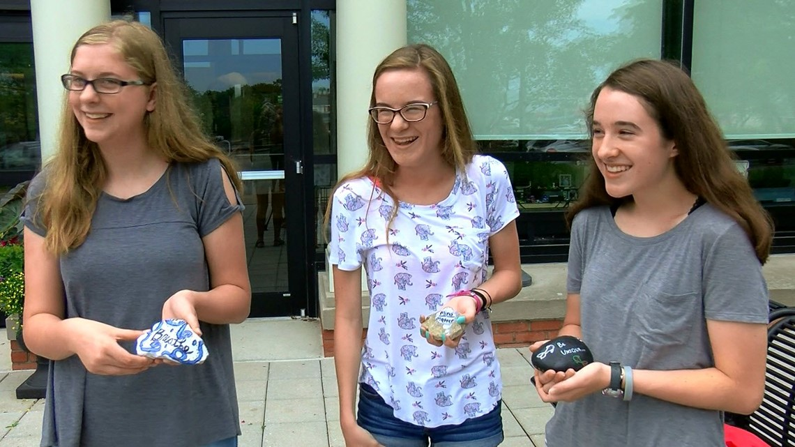 Perrysburg High School students spreading messages of love on rocks
