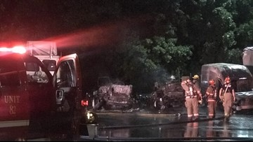 No injuries reported after 5 Penske trucks catch fire