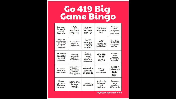 Go 419 Big Game Bingo!