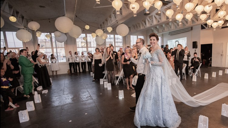 Bride asks guests to wear their old wedding dresses to her wedding (and it's a hit!)