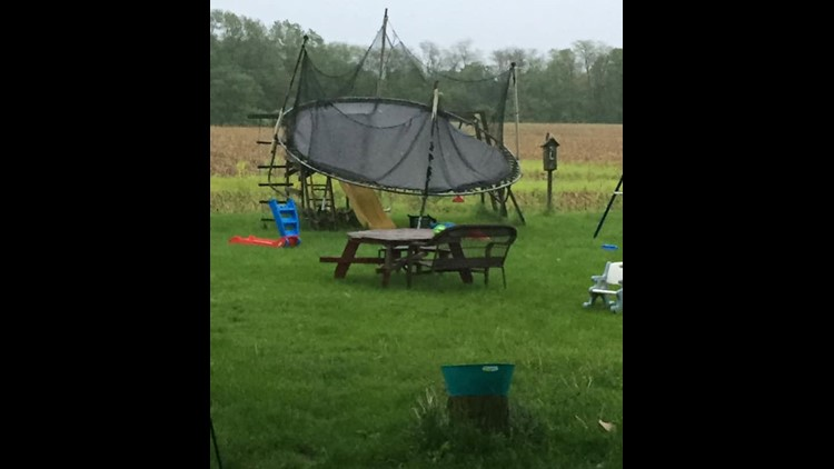 Trampoline on swing set