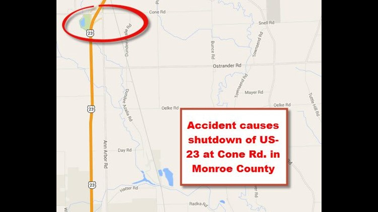 Accident Causes Shutdown Of Us 23 At Cone Rd In Monroe County - Us-23-map