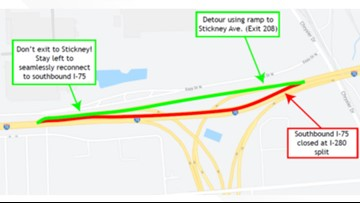ODOT to fix rough spot on SB I-75 on the bridge approaches over I-280 starting tonight