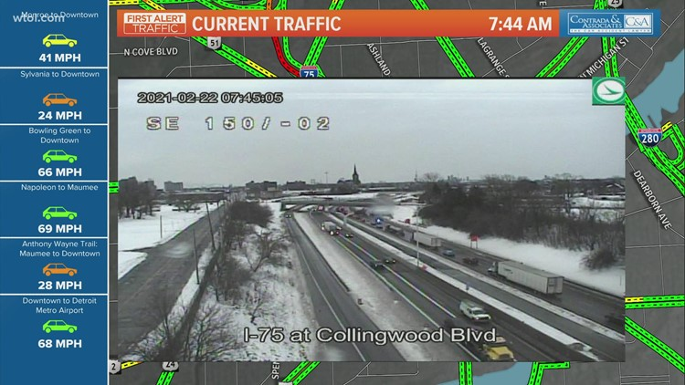 15 vehicles with flat tires from potholes on I-75 southbound near Collingwood Boulevard
