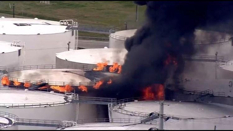 Eight chemical storage tanks burning near Deer Park