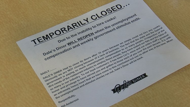 Owner of Dale's Diner blames closure on unemployment and stimulus benefits making hiring difficult; an expert weighs in