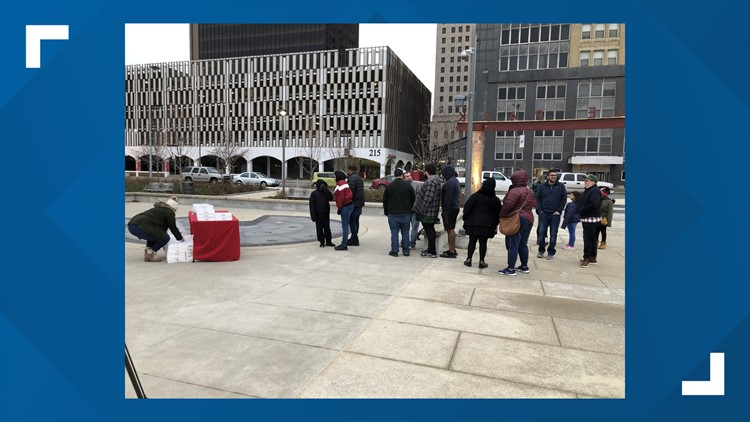 Krispee Kreme handed out 1,800 free doughnuts on Sunday in downtown Toledo