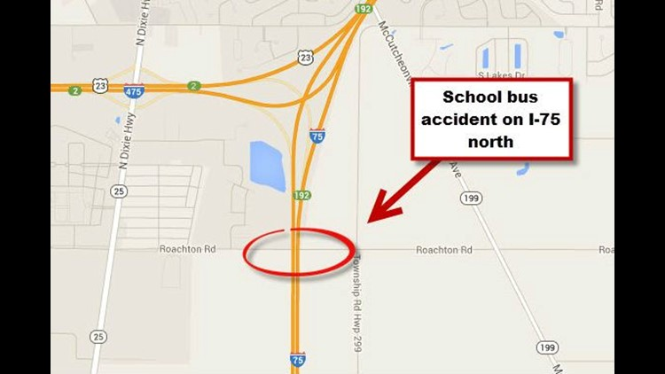 Traffic stopped on I-75 north after school bus accident, no